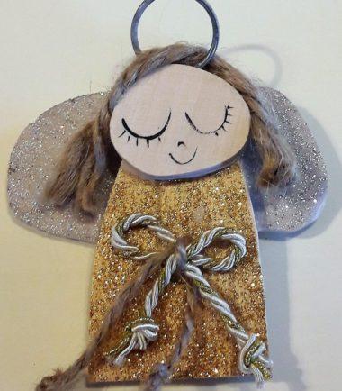 Aniołek ozdoba świąteczna w złotej sukience
