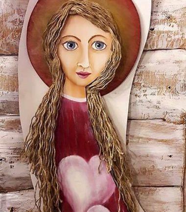 Zakochany Anioł- ręcznie robina drewniana figurka