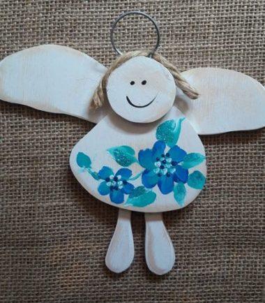 drewniany aniołek komunijny prezent dla chłopca