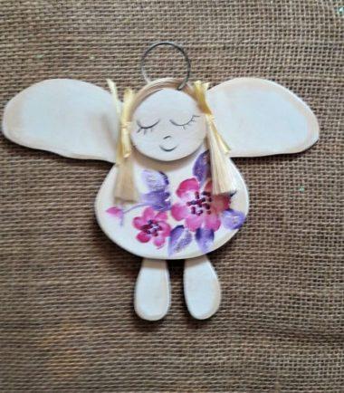 drewniany aniołek komunijny prezent dla dziewczynki