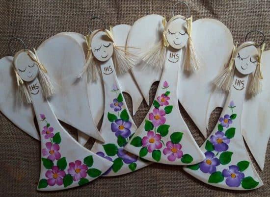drewniane aniołki na komunijny prezent