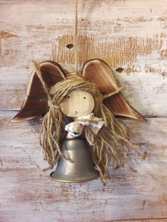 metalowy dzwoneczek w kształcie aniołka 15cm